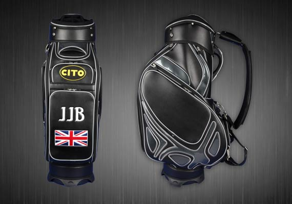 Golfbag Typ MONTROSE Tourbag in schwarz. Spielername, Flagge GB, CITO.